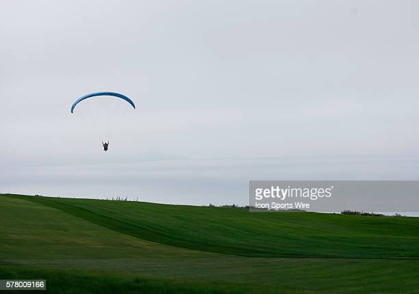 Para gliders soar over the 4th hole on the Torrey Pines Golf Course during the final round of the Farmers Insurance Open in San Diego Ca
