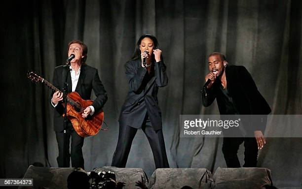 LOS ANGELES CA February 8 2015 Paul McCartney Rihanna and Kanye West perform at the 57th Annual GRAMMY Awards at STAPLES Center in Los Angeles CA...