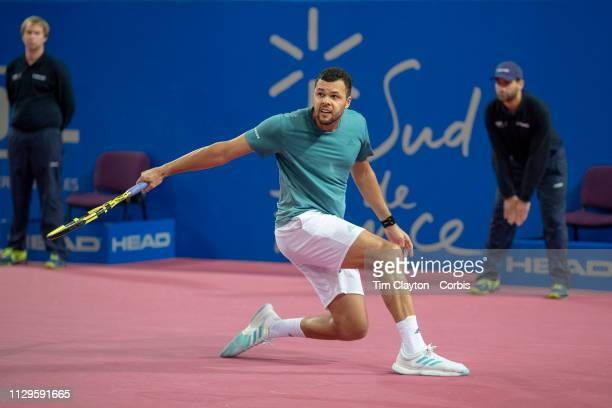 MONTPELLIER FRANCE February 9 JoWilfried Tsonga of France in action against Radu Albot of Moldova in the Men's SemiFinal match during the Open Sud de...