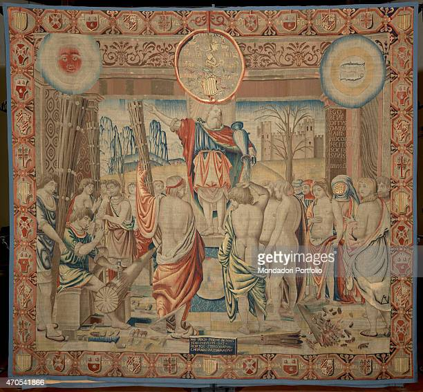 'February by Benedetto da Milano upon drawing by Bramantino c 15031508 16th Century tapestry Italy Lombardy Milan Sforza Castle Whole artwork view...