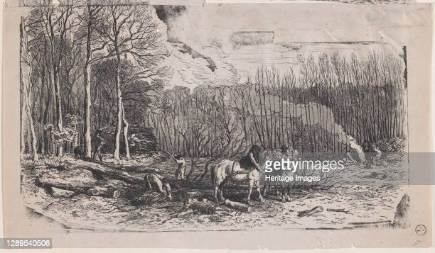February from Album of Rustic Subjects, 1859. Artist Charles Emile Jacque.