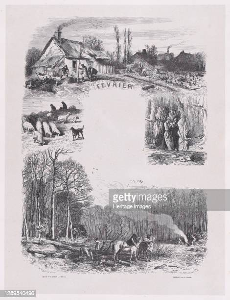 February from Album of Rustic Subjects, 1859. Artist Jacques-Adrien Lavieille.