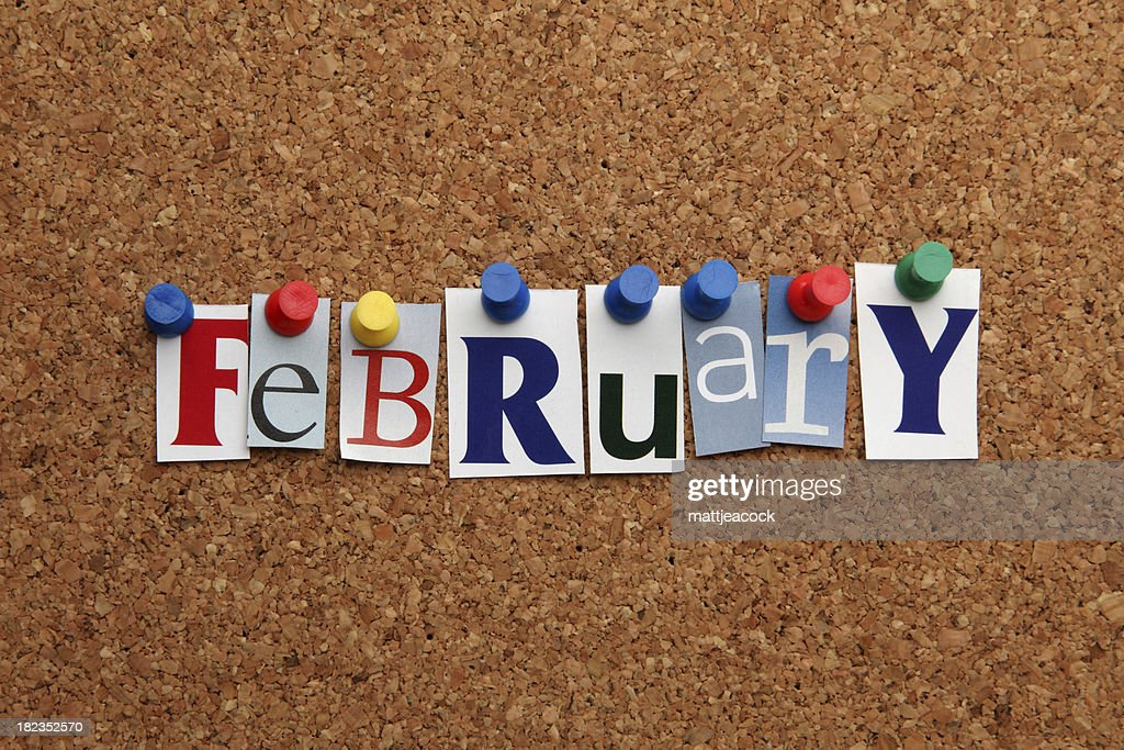 February pinned on noticeboard : Stock Photo