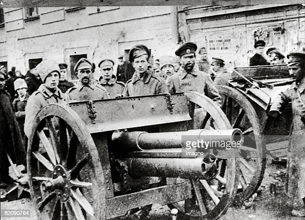 February revolution in Russia Street barricade On the 11th March 1917 czar Nikolaus II gives the shooting order against the insurgents of the...