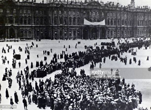 February Revolution St Petersburg Russia Crowds gather before the storming of the Winter Palace 1917