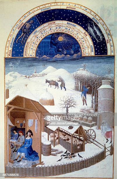 Snow Miniature painting on vellum from Les tres riches heures du duc de Berry by Pol de Limbourg 15th century Chantilly Musee Conde France