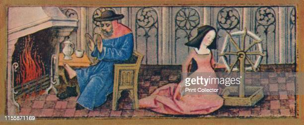 February - spinning, late 15th century, . A man takes off his boots to warm his feet by the fire as a woman uses a wheel to spin thread. Detail of a...