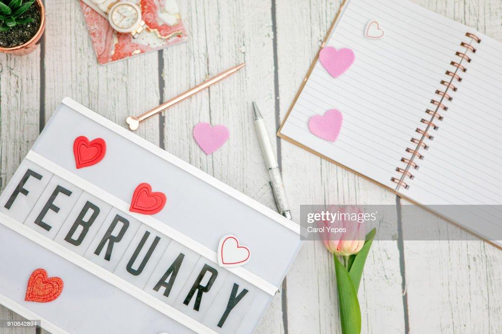 february written in a lightbox : Stock Photo