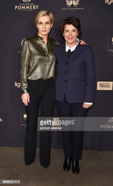 """Febuary 2018, Germany, Berlin: Berlinale, """"Soiree francaise du cinema"""" in the Frnech Embassy at the Pariser Platz: Marie-Jeanne Pascal and Melita..."""