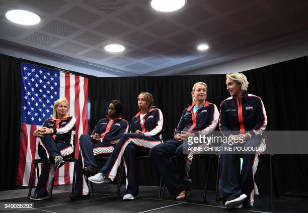 US Fed Cup captain Kathy RinaldiStunkel and players Sloane Stephens Madison Keys Coco Vandeweghe and Bethanie MattekSands look on during the draw...