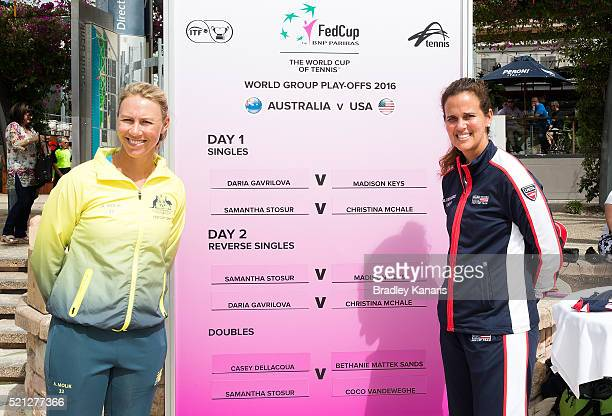 Fed Cup Captains Alicia Molik and Mary Joe Fernandez pose for a photo during the official draw for the Fed Cup tie between Australia and the United...