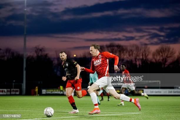 Fedde de Jong of AZ Alkmaar U23 during the Dutch Keuken Kampioen Divisie match between AZ Alkmaar U23 v Excelsior at the AFAS Trainingscomplex on May...
