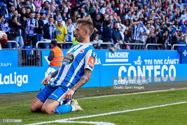 Fede Cartabia of Deportivo de La Coruna celebrates after scoring his team's first goal during the La Liga 123 play off match between Deportivo De La...