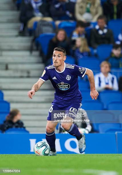 Fede San Emeterio of Real Valladolid CF in action during the Liga match between Real Sociedad and Real Valladolid CF at Estadio Anoeta on February 28...