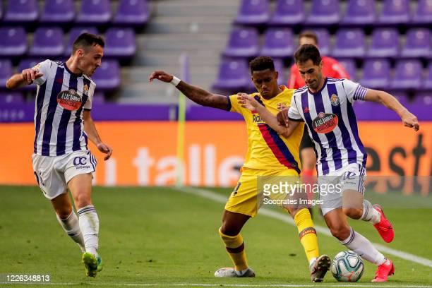Fede San Emeterio of Real Valladolid, Junior Firpo of FC Barcelona, Moyano of Real Valladolid during the La Liga Santander match between Real...