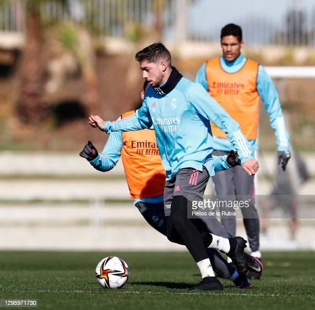 Fede Valverde and Varane of Real Madrid during the Real Madrid training session ahead of the Spanish Super Cup semi-final at Ciudad de Málaga stadium...