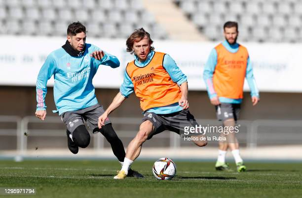 Fede Valverde, Luka Modric and Nacho of Real Madrid during the Real Madrid training session ahead of the Spanish Super Cup semi-final at Ciudad de...