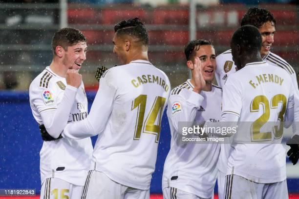 Fede Valverde of Real Madrid, Casemiro of Real Madrid, Lucas Vazquez of Real Madrid, Mendy of Real Madrid celebrates goal 0-4 during the La Liga...