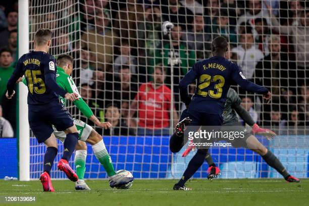 Fede Valverde of Real Madrid Cristian Tello of Real Betis scores the first goal to make it 21 during the La Liga Santander match between Real Betis...