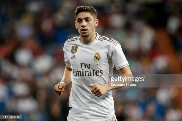Fede Valverde of Real Madrid during the La Liga Santander match between Real Madrid v Osasuna at the Santiago Bernabeu on September 25 2019 in Madrid...