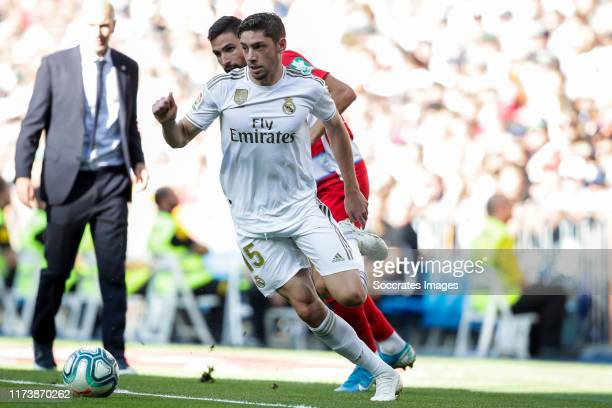 Fede Valverde of Real Madrid during the La Liga Santander match between Real Madrid v Granada at the Santiago Bernabeu on October 5 2019 in Madrid...