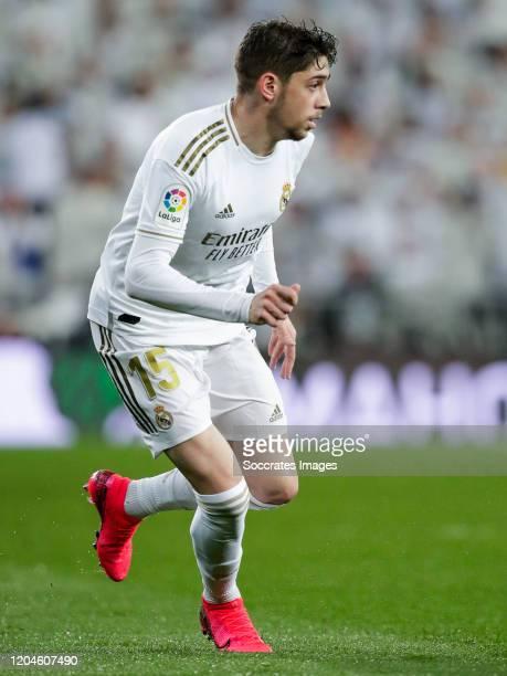 Fede Valverde of Real Madrid during the La Liga Santander match between Real Madrid v FC Barcelona at the Santiago Bernabeu on March 1 2020 in Madrid...