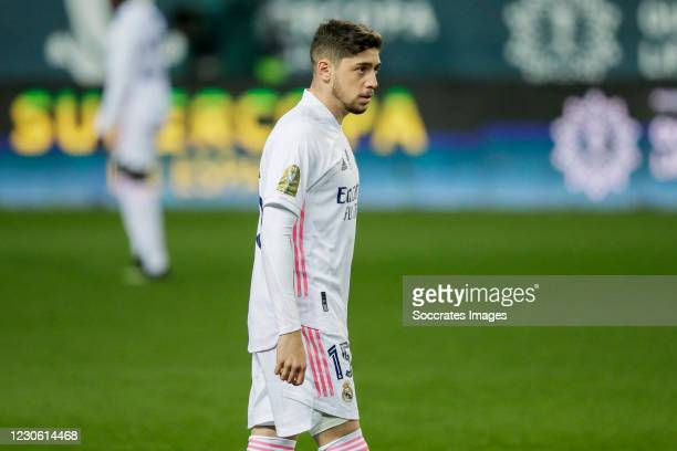 Fede Valverde of Real Madrid during the Spanish Super Cup match between Real Madrid v Athletic de Bilbao at the La Rosaleda Stadium on January 14,...