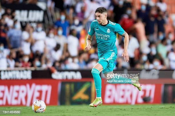 Fede Valverde of Real Madrid in action during the La Liga Santander match between Valencia CF and Real Madrid CF at Estadio Mestalla on September 19,...