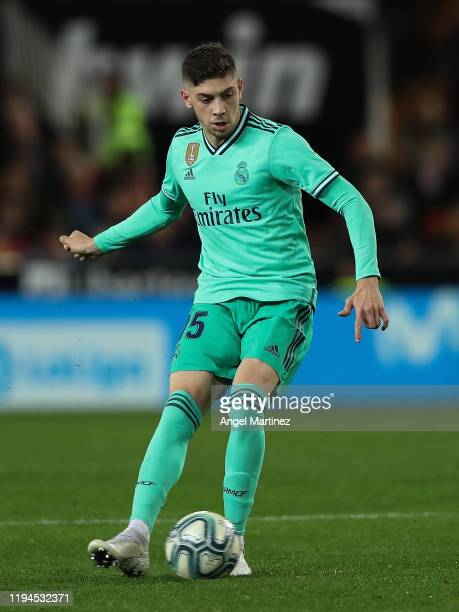 Fede Valverde of Real Madrid in action during the Liga match between Valencia CF and Real Madrid CF at Estadio Mestalla on December 15 2019 in...