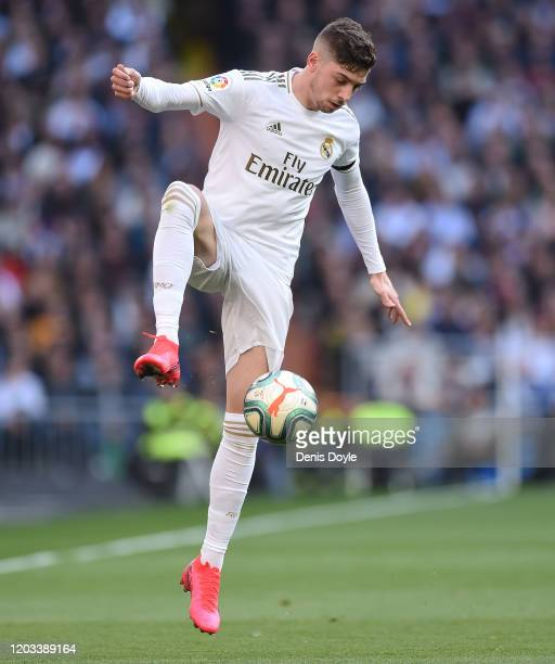 Fede Valverde of Real Madrid in action during the Liga match between Real Madrid CF and Club Atletico de Madrid at Estadio Santiago Bernabeu on...