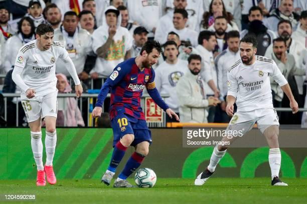 Fede Valverde of Real Madrid Lionel Messi of FC Barcelona Dani Carvajal of Real Madrid during the La Liga Santander match between Real Madrid v FC...