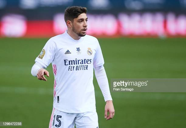 Fede Valverde of Real Madrid looks on during the Supercopa de Espana Semi Final match between Real Madrid and Athletic Club at Estadio La Rosaleda on...