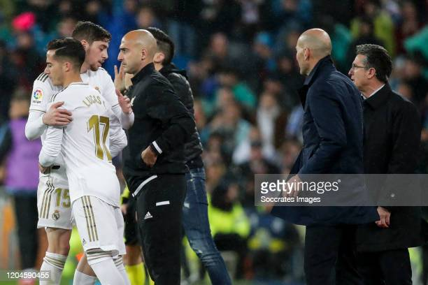 Fede Valverde of Real Madrid Lucas Vazquez of Real Madrid coach Zinedine Zidane of Real Madrid during the La Liga Santander match between Real Madrid...