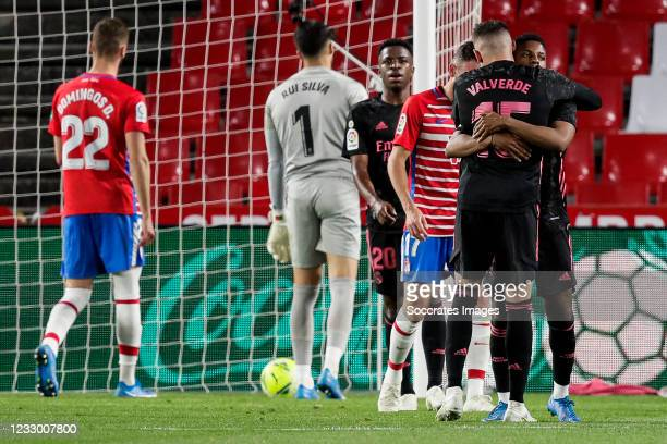 Fede Valverde of Real Madrid, Rodrygo of Real Madrid celebrates goal 0-2 during the La Liga Santander match between Granada v Real Madrid at the...
