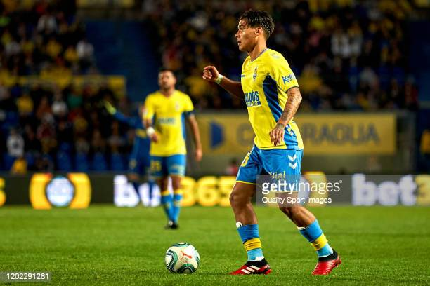 Fede Varela of Las Palmas in action during the match between Las Palmas and Tenerife at Estadio Gran Canaria on January 25 2020 in Las Palmas Spain
