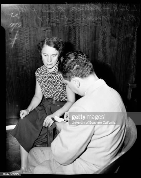 Federal arraignment August 2 1954 Patricia BlauBen Margolis Caption slip reads 'Photographer Hehct Date Reporter Greenlees Assignment Federal...