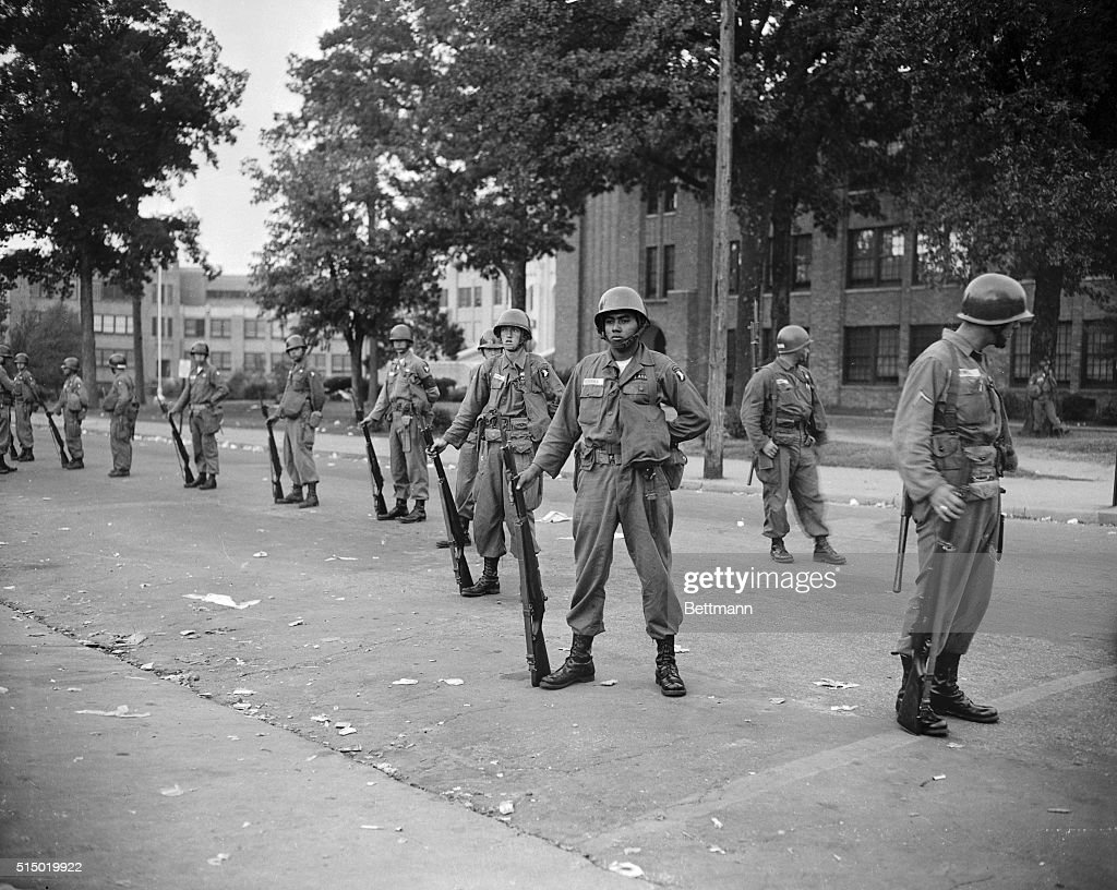 Troops Standing With Rifles : News Photo