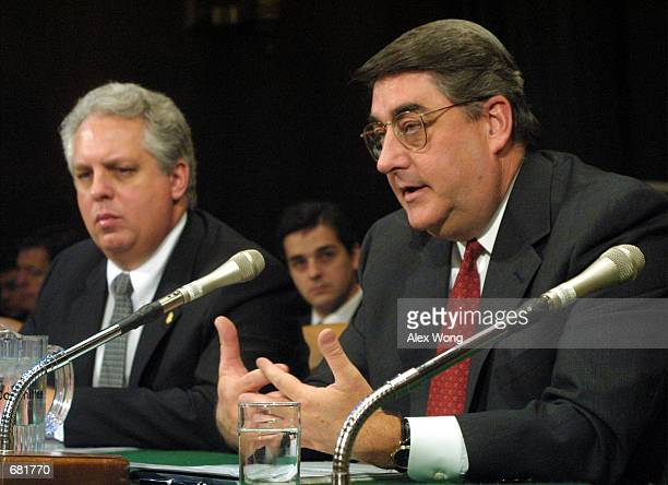 Federal Bureau of Investigation Acting Deputy Administrator Monte Belger testifies as Michael Kirkpatrick , Assistant Director of the Criminal...