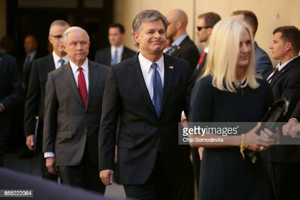 Federal Bureau of Investigation Deputy Director Andrew McCabe US Attorney General Jeff Sessions FBI Director Christopher Wray and his wife Helen Wray...