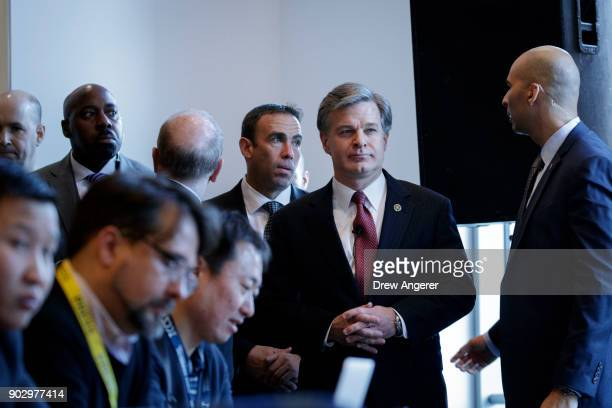 Federal Bureau of Investigation Director Christopher Wray arrives for the International Conference on Cyber Security at Fordham University at Lincoln...
