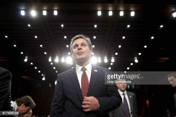 Federal Bureau of Investigation Director Christopher Wray arrives to testify before the Judiciary Committee in the Hart Senate Office Building on...