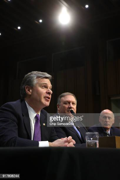 Federal Bureau of Investigation Director Christopher Wray Central Intelligence Agency Director Mike Pompeo and Director of National Intelligence Dan...