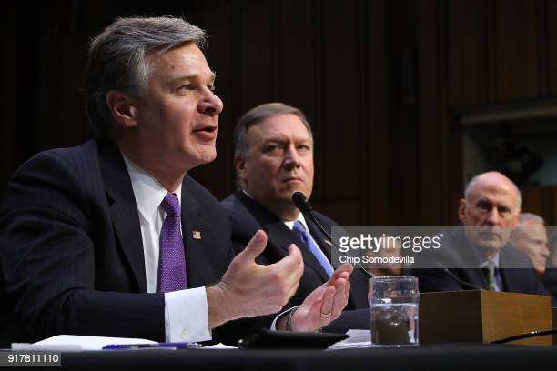 Federal Bureau of Investigation Director Christopher Wray Central Intelligence Agency Director Mike Pompeo Director of National Intelligence Dan...