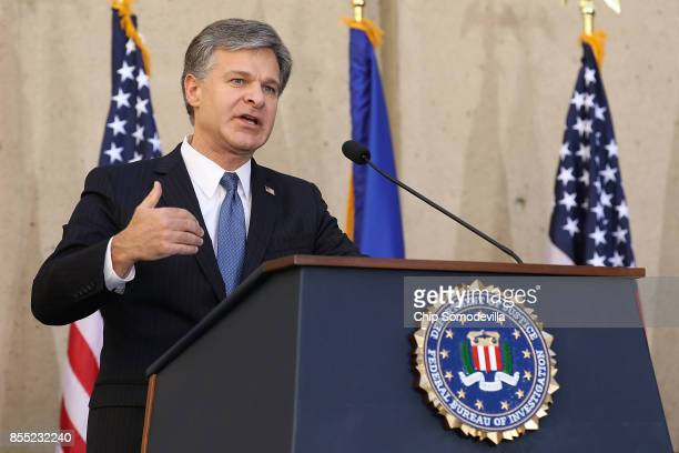 Federal Bureau of Investigation Director Christopher Wray delivers remarks during his installation ceremony at FBI headquaters September 28 2017 in...