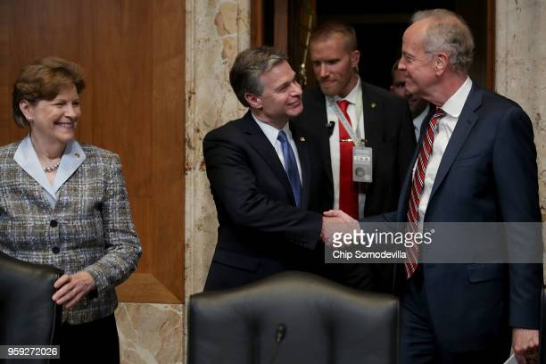 Federal Bureau of Investigation Director Christopher Wray greets the Senate Appropriations Committee's Commerce Justice Science and Related Agencies...