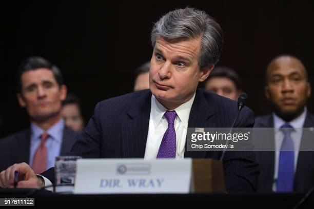 Federal Bureau of Investigation Director Christopher Wray joins fellow intelligence community officials while testifying before the Senate...