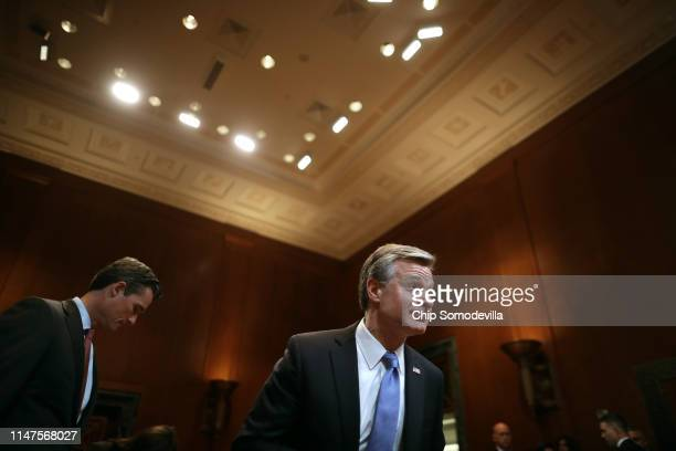 Federal Bureau of Investigation Director Christopher Wray prepares to testify before the Senate Appropriations Committee on the bureau's FY 2020...