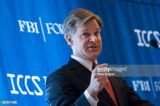 Federal Bureau of Investigation Director Christopher Wray speaks during the International Conference on Cyber Security at Fordham University at...