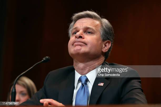 Federal Bureau of Investigation Director Christopher Wray testifies before the Senate Appropriations Committee on the bureau's FY 2020 budget in the...