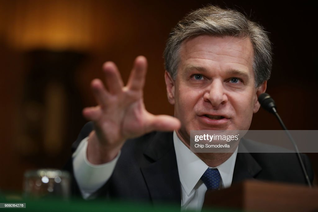 Federal Bureau of Investigation Director Christopher Wray testifies before the Senate Appropriations Committee's Commerce, Justice, Science, and Related Agencies Subcommittee in the Dirksen Senate Office Building on Capitol Hill May 16, 2018 in Washington, DC. Wray testified about this bureau's FY2019 budget request.